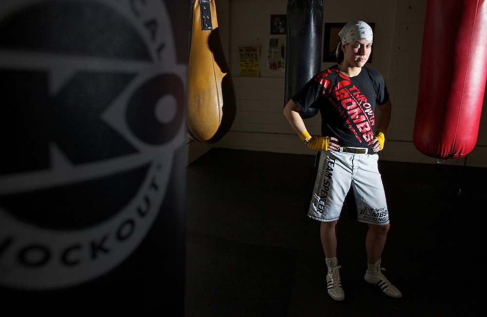 Windsor, Ontario ---10-05-06--- World Welterweight Champion, Mary Spencer poses for a portrait at the Windsor Amateur Boxing Club in Windsor, Ontario, May 6, 2010.<br /> GEOFF ROBINS The Globe and Mail