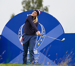 Auchterarder, Scotland, UK. 12 September 2019. Final practice day at 2019 Solheim Cup on Centenary Course at Gleneagles. Pictured; Lexi Thompson drives on 6th. hole Iain Masterton/Alamy Live News