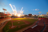 Boston, MA 08/28/2015<br />Fireworks erupt from the top of the Green Monster at Fenway Park in honor of Dr. Carolyn Kaelin.<br />Alex Jones / www.alexjonesphoto.com