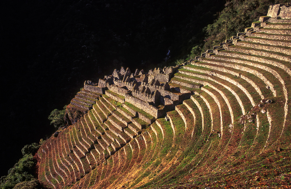The haunting Incan remains of Winay Wayna at dawn, along the Inca Trail from Machu Puichu.