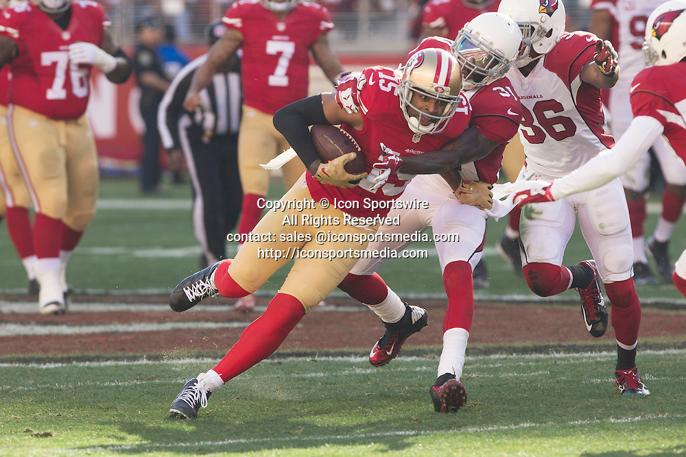 28 December 2014: San Francisco 49ers Wider Receiver Michael Crabtree running for yards after a big catch during a 20-17 victory over the Arizona Cardinals at Levi's Stadium in Santa Clara, Ca.