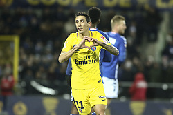 December 13, 2017 - Strasbourg, France - Angel di Maria of PSG celebrate his goal during the french League Cup match, Round of 16, between Strasbourg and Paris Saint Germain on December 13, 2017 in Strasbourg, France. (Credit Image: © Elyxandro Cegarra/NurPhoto via ZUMA Press)