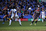 Carlisle United&rsquo;s Gary Madine chips the ball forward. Skybet football league 1 match, Tranmere Rovers v Carlisle United at Prenton Park in Birkenhead, England on Saturday 29th March 2014.<br /> pic by Chris Stading, Andrew Orchard sports photography.