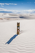 Hiking trail marker at White Sands National Monument, New Mexico.