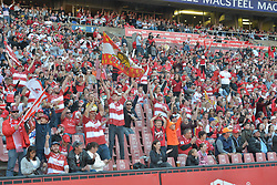 28-07-18 Emirates Airline Park, Johannesburg. Super Rugby semi-final Emirates Lions vs NSW Waratahs. 1st half. Fans celebrate the Lions try by hooker Malcolm Marx.<br />  Picture: Karen Sandison/African News Agency (ANA)