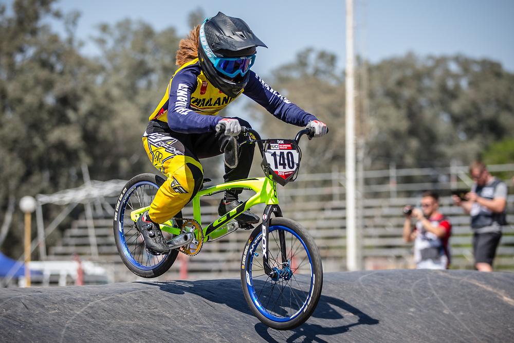 #140 (KITWANITSATHIAN Chutikan) THA  at Round 9 of the 2019 UCI BMX Supercross World Cup in Santiago del Estero, Argentina