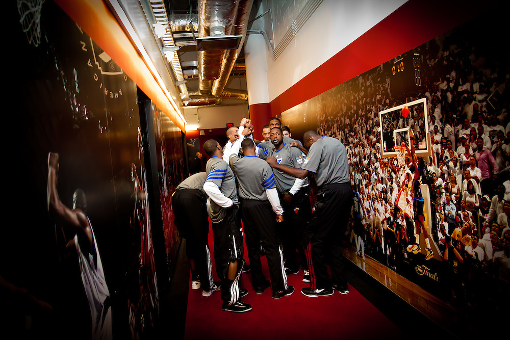 MIAMI, FL -- January 29, 2012 -- The Miami Heat gather up in Championship Hall before taking the court before the 97-93 Heat win over the Chicago Bulls at American Airlines Arena in Miami, Fla., on Sunday, January 29, 2012.  (Chip Litherland for ESPN the Magazine)
