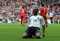 Photo: Paul Thomas.<br /> England v Andorra. European Championships 2008 Qualifying. 02/09/2006.<br /> <br /> Jermaine Defoe celebrates his goal for England.