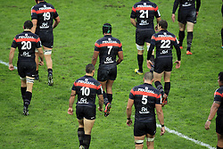 A general view of the Stade Toulouse players during the Heineken Cup match between Stade Toulouse and Leicester Tigers at Stade Municipal on October 14, 2012 in Toulouse, France.  Eoin Mundow/Cleva Media