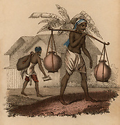 Indian water carriers: Man in foreground carries two ceramic pots balanced on either end of pole balanced on his shoulder, while the one in background has a water skin and a jug to measure out water he sells. Hand-coloured engraving published Rudolph Ackerman