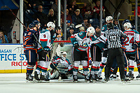 KELOWNA, CANADA - DECEMBER 29: Roman Basran #30 of the Kelowna Rockets makes a save during second period against the Kamloops Blazers on December 29, 2018 at Prospera Place in Kelowna, British Columbia, Canada.  (Photo by Marissa Baecker/Shoot the Breeze)