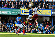 Jamal Lowe (18) of Portsmouth battles for possession with Romain Vincelot (6) of Bradford City during the EFL Sky Bet League 1 match between Portsmouth and Bradford City at Fratton Park, Portsmouth, England on 28 October 2017. Photo by Graham Hunt.