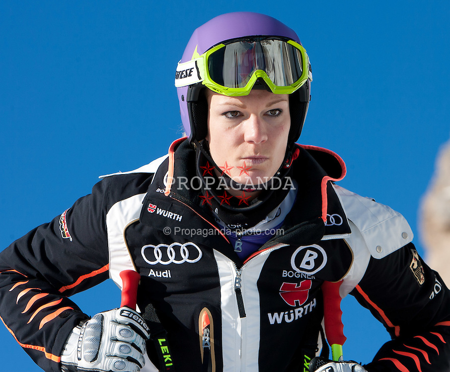 12.01.2012, Pista Olympia delle Tofane, Cortina, ITA, FIS Weltcup Ski Alpin, Damen, Abfahrt, 1. Training, im Bild Maria Hoefl-Riesch (GER) // Maria Hoefl-Riesch of Germany bevore ladies downhill 1st training of FIS Ski Alpine World Cup at 'Pista Olympia delle Tofane' course in Cortina, Italy on 2012/01/12. EXPA Pictures © 2012, PhotoCredit: EXPA/ Johann Groder