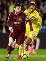 Villarreal CF's Ruben Semedo (r) and FC Barcelona's Leo Messi during La Liga match. December 10,2017. (ALTERPHOTOS/Acero)