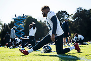 Taywan Taylor WR (13) warms up during the Tennessee Titans pre-match press conference at Syon House, Brentford, United Kingdom on 19 October 2018.