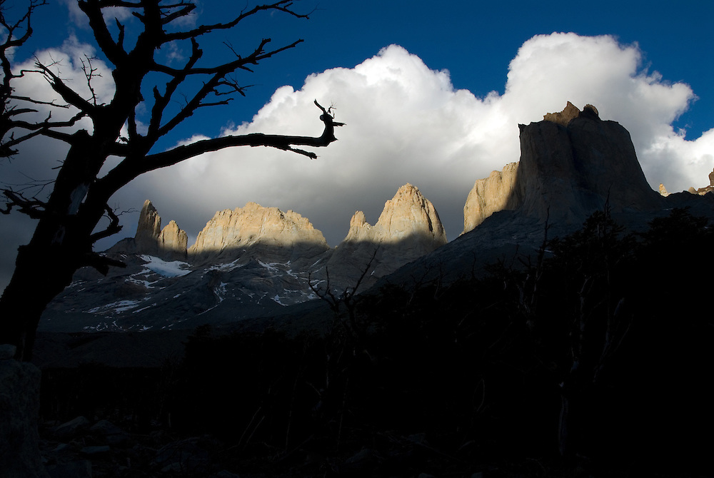 Storm clouds over the granite towers of Torres Del Paine National Park, Patagonia, Chile.