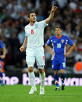 Frank Lampard Celebrates Scoring 3rd goal <br /> England 2009/10<br /> England V Croatia (5-1) 09/09/09 <br /> World Cup Qualifier 2010 at Wembley Stadium<br /> Photo Robin Parker Fotosports International
