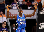 Dec. 09, 2012; Phoenix, AZ, USA; Orlando Magic forward Andrew Nicholson (44) reacts on the court during the game against the Phoenix Suns in the first half at US Airways Center. Mandatory Credit: Jennifer Stewart-USA TODAY Sports