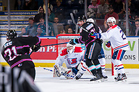 KELOWNA, BC - SEPTEMBER 21: Campbell Arnold #1 of the Spokane Chiefs defends the net during overtime against the Kelowna Rockets at Prospera Place on September 21, 2019 in Kelowna, Canada. (Photo by Marissa Baecker/Shoot the Breeze)