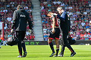 Junior Stanislas (19) of AFC Bournemouth limps off injured and is replaced by Jack Simpson (25) of AFC Bournemouth during the Premier League match between Bournemouth and Fulham at the Vitality Stadium, Bournemouth, England on 20 April 2019.