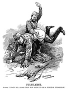 """Fulfilment. Austria. """"I said all along this was going to be a punitive expedition."""" (WW1 cartoon showing Serbia placing Austria over his knee and slapping his bottom)"""