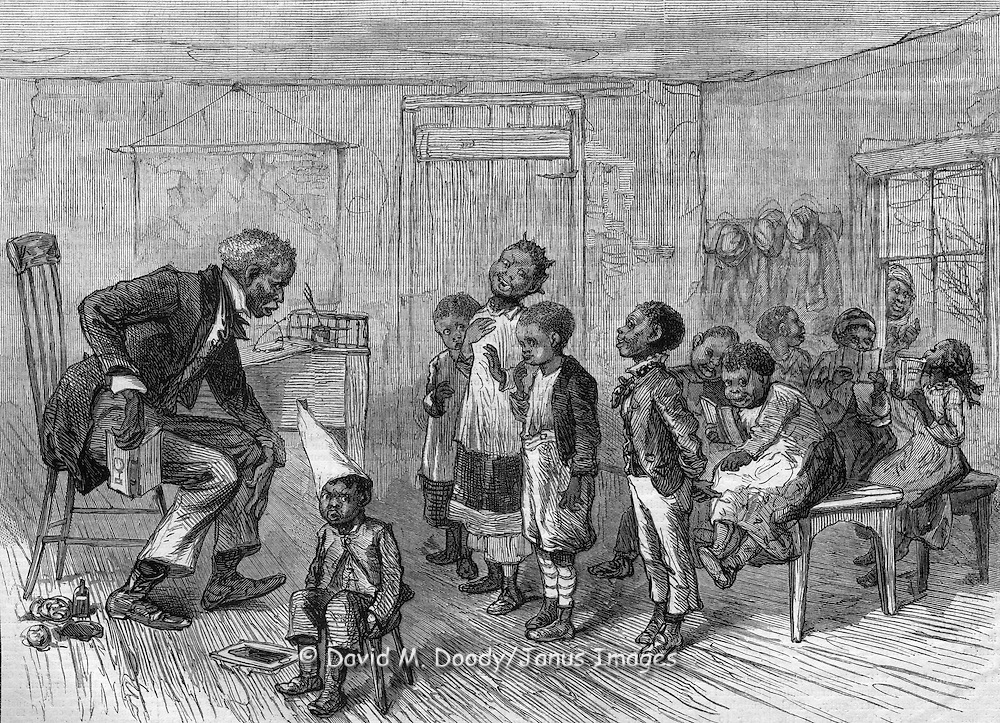 """Yer bin to dis Cadermy eighteen months an' dunno how to spell pork?""  The Blackville Schoolmaster. Harper's Weekly, 1879."