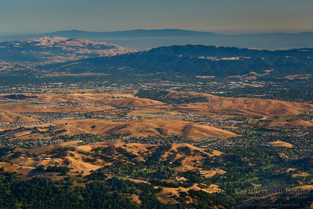 Rolling hills of the East Bay as seen from Mount Diablo State Park; California