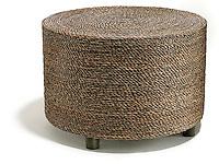 woven brown wicker ottoman