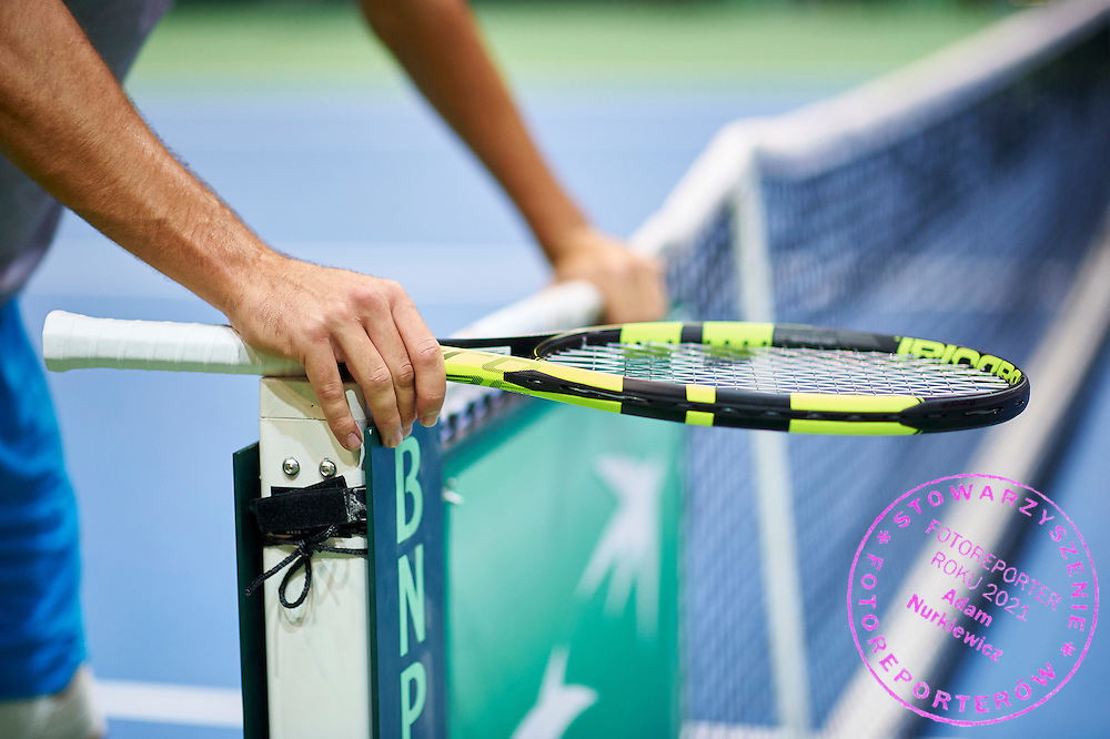 Jerzy Janowicz of Poland and his new rocket by Babolat during training session two days before Davis Cup Tie World Group Play-off Poland v Slovakia at Gdynia Arena in Gdynia, Poland.<br /> <br /> Poland, Gdynia, September 16, 2015<br /> <br /> Picture also available in RAW (NEF) or TIFF format on special request.<br /> <br /> For editorial use only. Any commercial or promotional use requires permission.<br /> <br /> Adam Nurkiewicz declares that he has no rights to the image of people at the photographs of his authorship.<br /> <br /> Mandatory credit:<br /> Photo by &copy; Adam Nurkiewicz / Mediasport