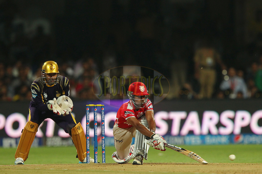Wriddhiman Saha of the Kings X1 Punjab during the final match of the Pepsi Indian Premier League Season 2014 between the Kings Xi Punjab and the Kolkata Knight Riders held at the M. Chinnaswamy Stadium, Bangalore, India on the 1st June  2014<br /> <br /> Photo by Ron Gaunt / IPL / SPORTZPICS<br /> <br /> <br /> <br /> Image use subject to terms and conditions which can be found here:  http://sportzpics.photoshelter.com/gallery/Pepsi-IPL-Image-terms-and-conditions/G00004VW1IVJ.gB0/C0000TScjhBM6ikg