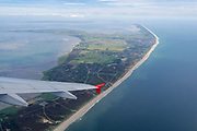 Sylt, Germany. Starting from Westerland Airport aboard an Air Berlin Airbus A320 to Düsseldorf.<br /> The beach at the Red Cliff at Kampen (foreground m.), Wenningstedt-Braderup and Westerland (middle r.), Hindenburgdamm (middle left), Rantum basin and Hörnum Odde (the Southern Tip).