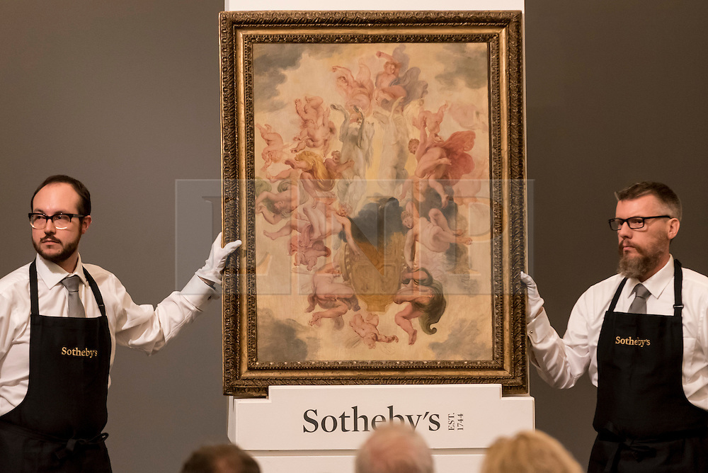 "© Licensed to London News Pictures. 06/07/2016. London, UK.  ""The Chariot of Apollo"" by Sir Peter Paul Reubens, which sold for a hammer price of GBP 0.95m (est. 1-1.5m) at Sotheby's Old Masters evening sale in New Bond Street. Photo credit : Stephen Chung/LNP"