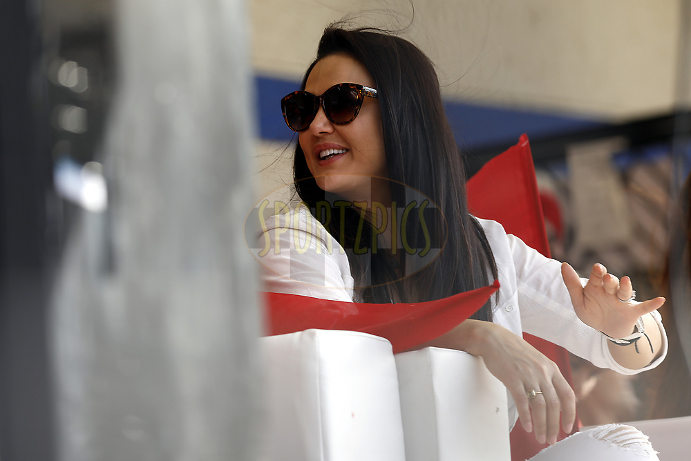 Preity Zinta owner of Kings XI Punjab during match 4 of the Vivo 2017 Indian Premier League between the Kings X1 Punjab and the rising Pune Supergiant held at the Holkar Cricket Stadium in Indore, India on the 8th April 2017<br /> <br /> Photo by Arjun Singh - IPL - Sportzpics