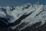 Aerial view of Bugaboos Spires, Canadian Mountain Holidays heli-skiing & heli-snowboading, British Columbia, Canada