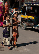 Children shopping in Bikaner market - Rajasthan India 2011