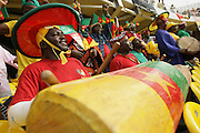 Supporters of the Cameroon national football team play drums prior to a game against Ghana during the 2008 Africa Cup of Nations in Accra, Ghana on February 7, 2008.