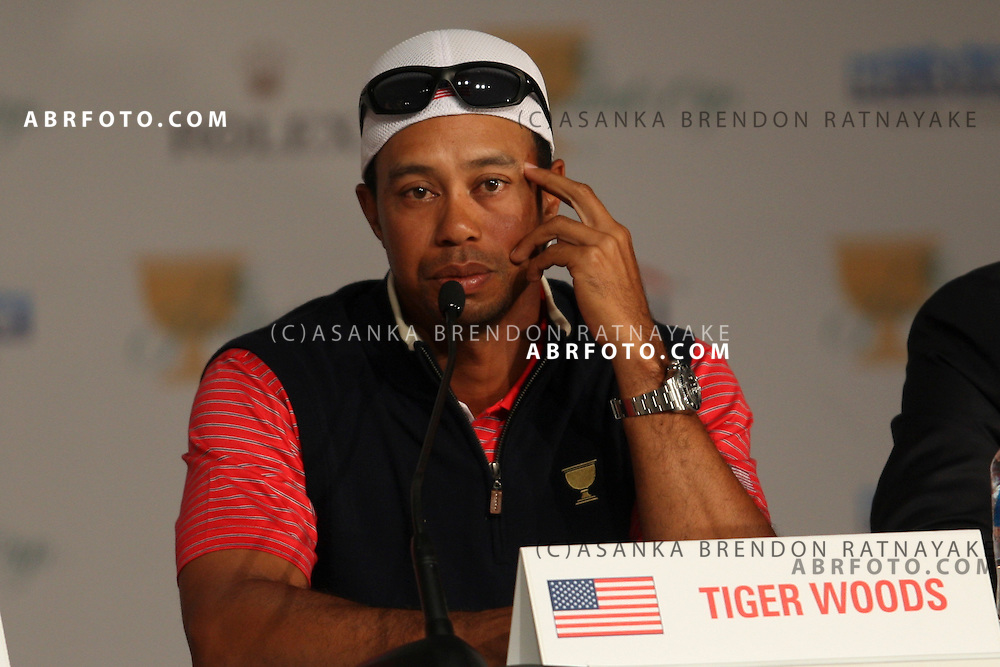20 November 2011 : Tiger Woods during the post event press conference with his hat turned back during the fifth-round Sunday Final round single ball matches at the Presidents Cup at the Royal Melbourne Golf Club in Melbourne, Australia. .