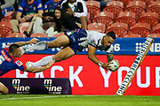 Ken Maumalo dives over in the corner. The try was disallowed. Newcastle Knights v Vodafone Warriors. NRL Rugby League. McDonald Jones Stadium, Newcastle, Australia. 6th July 2019. Copyright Photo: David Neilson / www.photosport.nz