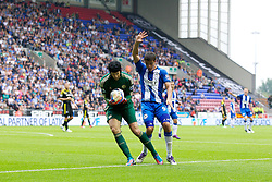 WIGAN, ENGLAND - Sunday, August 19, 2012: Wigan Athletic's Franco Di Santo calls for a handball as Chelsea's goalkeeper Petr Cech grabs the ball on the line during the Premiership match at the DW Stadium. (Pic by Vegard Grott/Propaganda)