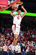 FAYETTEVILLE, AR - FEBRUARY 5:  Jalen Harris #5 of the Arkansas Razorbacks goes up for a dunk against the Vanderbilt Commodores at Bud Walton Arena on February 5, 2019 in Fayetteville, Arkansas. The Razorbacks defeated the Commodores 69-66.  (Photo by Wesley Hitt/Getty Images) *** Local Caption *** Jalen Harris