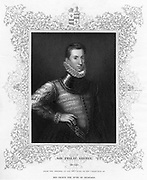 Philip Sidney (1554-1586) English soldier, statesman, poet, and patron of poets. Governor of Flushing (1585). Mortally wounded in the thigh at the Battle of Zutphen in which the Dutch and English defeated the Spanish, 22 September 1586. Died at Arnhem 26 days later.   Engraving  c1840.