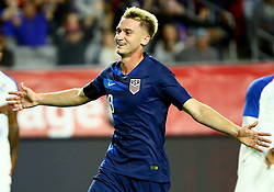 January 27, 2019 - Glendale, AZ, U.S. - GLENDALE, AZ - JANUARY 27: United States of America midfielder Djordje Milhailovic (8) celebrates a goal during the international friendly between the United States Men's National Team and Panama on January 27th, 2019 at State Farm Stadium in Glendale, AZ (Photo by Adam Bow/Icon Sportswire) (Credit Image: © Adam Bow/Icon SMI via ZUMA Press)