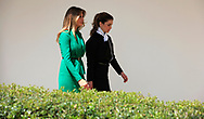 First Lady Melania Trump and Queen Rania of Jordan walk from the Rose Garden to the White House.<br />
