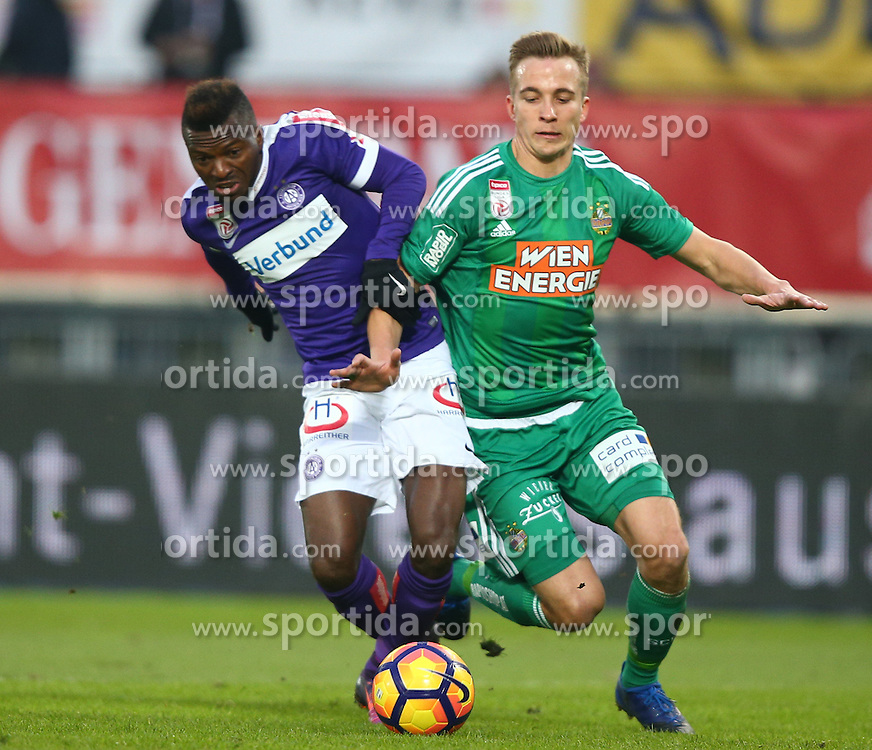 12.02.2017, Ernst Happel Stadion, Wien, AUT, 1. FBL, FK Austria Wien vs SK Rapid Wien, 21. Runde, im Bild Olarenwaju Kayode (FK Austria Wien) und Christopher Dibon (SK Rapid Wien) // during Austrian Football Bundesliga Match, 21st Round, between FK Austria Vienna and SK Rapid Vienna at the Ernst Happel Stadion, Vienna, Austria on 2017/02/12. EXPA Pictures © 2017, PhotoCredit: EXPA/ Thomas Haumer