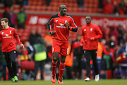Liverpool defender Mamadou Sakho  during the Barclays Premier League match between Liverpool and Sunderland at Anfield, Liverpool, England on 6 February 2016. Photo by Simon Davies.