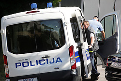 02.07.2015, Zagreb, CRO, Polizei ermittelt bei Dinamo Zagreb, Wegen des Verdachts der Bestechung und Steuerhinterziehung ermittelt die Polizei beim kroatischen Meister Dinamo Zagreb. Im Fokus stehen Klub-Chef Zdravo Mamic, Zoran Mamic, im Bild Staff of National Police Office for the Suppression of Corruption and Organized Crime take things out of the house of sports director of GNK Dinamo, Zoran Mamic at Markusevacka Dubrava 74th // The employees of the Croatian agency fighting corruption and organized crime leaving the Administration of GNK Dinamo. Zagreb, Croatia on 2015/07/02. EXPA Pictures © 2015, PhotoCredit: EXPA/ Pixsell/ Borna Filic<br /> <br /> *****ATTENTION - for AUT, SLO, SUI, SWE, ITA, FRA only*****