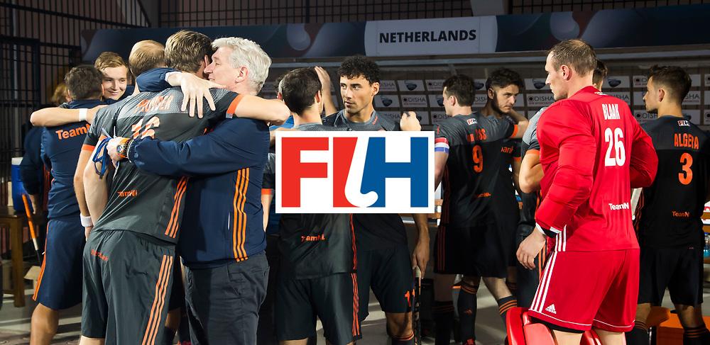 BHUBANESWAR - Manager Joof Verhees , Mirco Pruyser (Ned) , Glenn Schuurman (Ned)  voor de Hockey World League Final wedstrijd Belgie-Nederland (3-0).   COPYRIGHT KOEN SUYK