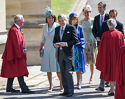 © Licensed to London News Pictures. 19/05/2018. London, UK. CAROE AND MICHAEL MIDDLETON, parents of Duchess of Cambridge with daughter PIPPA (rear). Guests arrive at The wedding of Prince Harry, The Duke of Sussex to Meghan Markle, The Duchess of Sussex, at St George's Chapel in Windsor. Photo credit: Ben Cawthra/LNP
