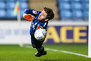 Forest Green Rovers goalkeeper James Montgomery attempts to save a penalty during the EFL Trophy match between Coventry City and Forest Green Rovers at the Ricoh Arena, Coventry, England on 9 October 2018.