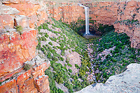 Oorlogskloof Waterfall entering a deep gorge, Papkuilsfontein, Northern Cape, South Africa